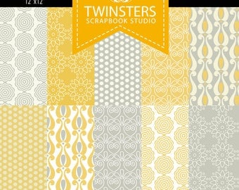 Pastel yellow-vanilla-grey digital paper collection -TW31