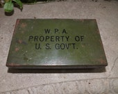 Vintage WPA (Works Progress Administration) First Aid Kit Metal Box-Historical