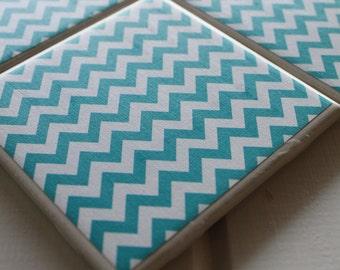 Teal Chevron Coasters Four Piece Ceramic Tile Set