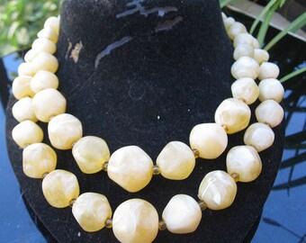 1960s lemon sorbet two strand necklet