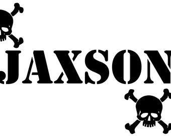 Personalized custom Name with Skulls  vinyl decal wall art decor removable bedroom decal