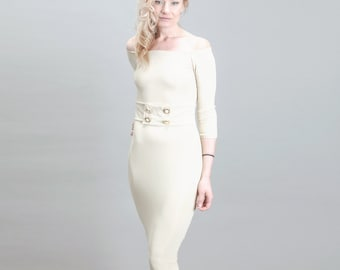 Beige Off the Shoulder Fitted Pencil Cocktail Dress with Gold Button Belt