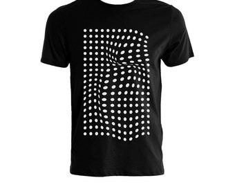 Black tshirt with white dots, geometric, abstract, monochrome, black and white polka dots