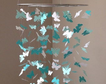 Butterfly baby mobile - Tiffany Blues and white colors