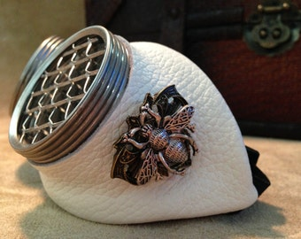 Steampunk goggles Antique white leather Large bee with honeycomb template lens.