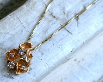 Nugget 14K Yellow Gold and Diamond Pendant with Chain.