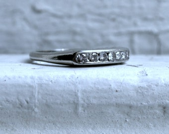 Vintage Channel 14K White Gold Diamond Wedding Band - 0.28ct