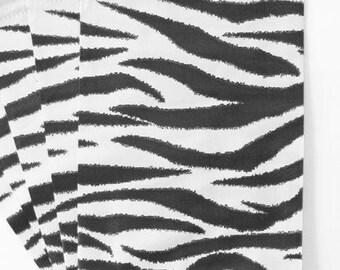 100 Zebra Paper Bags, 4x6 inch animal print, Flat Merchandise Bags