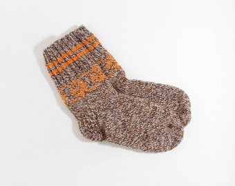 Hand Knitted Socks - Brown Melange, Size Small