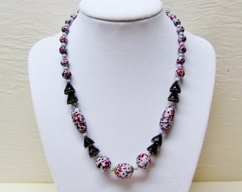 Vintage Art Deco necklace with black, red, and grey glass beads, 1930's jewelry