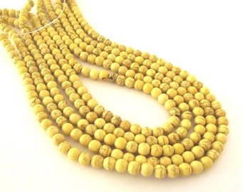 "Yellow Magnesite Beads, 6mm Round - 16"" Strand"