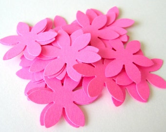 50 Hot Pink Flower Die cuts punches cardstock 1 inch -Scrapbook, cards, embellishment, confetti