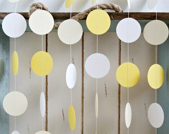 Yellow, Cream and White 12 ft Circle Paper Garland- Wedding, Birthday, Bridal Shower, Baby Shower, Party Decorations