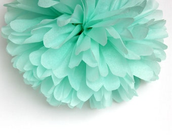 Mint Green Tissue Paper Pom Poms- Wedding, Birthday, Bridal Shower, Baby Shower, Party Decorations, Garden Party