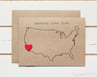Sending Love from USA Map - Customized Stationary Cards