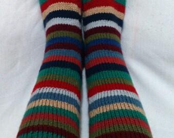 Long Colorful Handmade Knitting Home Socks / Handmade Brown Socks / Handmade Knit Woman Socks/Knit Socks