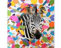 Mixed media Decorative art Animal painting drawing illustration portrait  print POSTER 8x10Party Zebra  Portrait