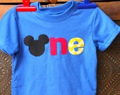 Mickey Mouse First, Second or Fourth Birthday Shirt--ONE, TWO or FOUR with Mickey Ears
