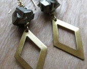 brass diamond cutout and PYRITE earrings
