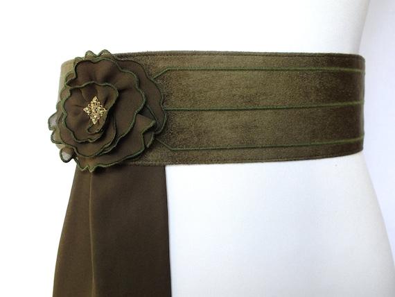 wide olive khaki obi belt sash embroidered with an
