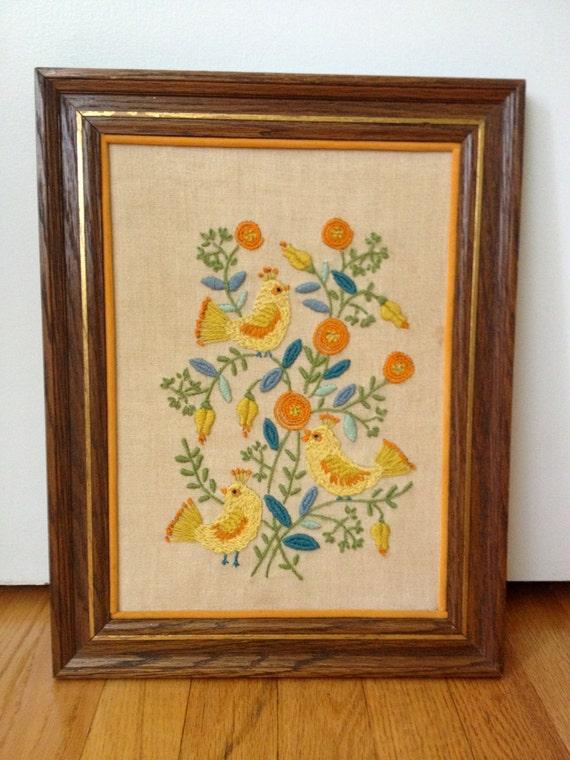 Vintage Framed Crewel/Embroidery Art By Thehoneysuckleshop