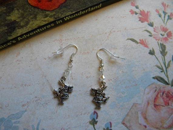 Alice in Wonderland White Rabbit Earrings