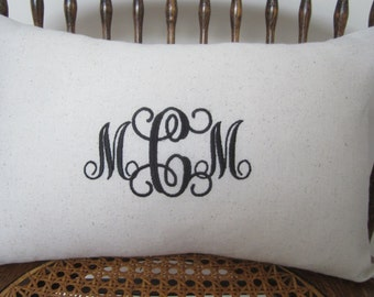 Monogram Pillow Cover - Personalized - Custom Decorative Pillow Cover - Nursery Decor - Baby Gift - Anniversary - Wedding - Bridal
