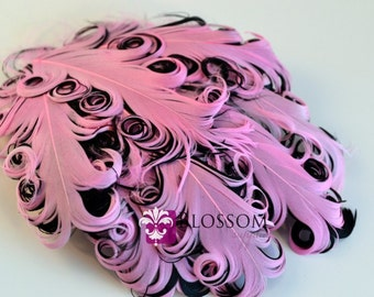 1 Curly Nagorie Feather Pads - Goose Feather Pad - Pink & Black - DIY headband hair clip hat newborn photo prop wedding supplies baby