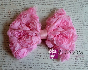 CLEARANCE Large Light Pink Bow - The Rose Bow Collection - Large Rose Bow - DIY Bow Headband - shabby frayed bows - blossom supplieS