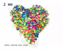 DIY Studs - 500 PCS 2 mm Colorful Neon Nail Art Stones Studs Iron On, Hot Fix, or Glue On