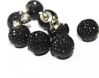 13 Pcs Black Round Crystal Look Sewing Buttons - for bridal, fashion, or costume decoration