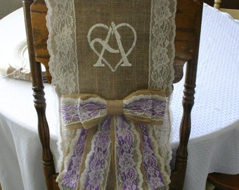 TWO Bride and Groom BURLAP CHAiR COVER, wedding chair sash, shabby chic, country chic, rustic chic, French country, cottage chic wedding,