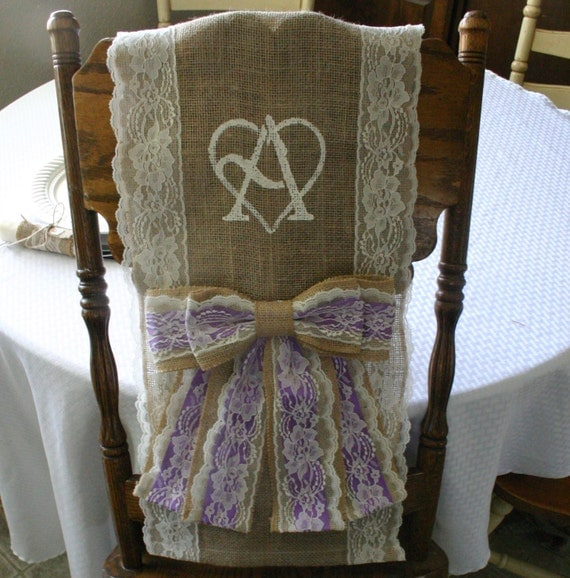 two bride and groom burlap chair cover wedding by