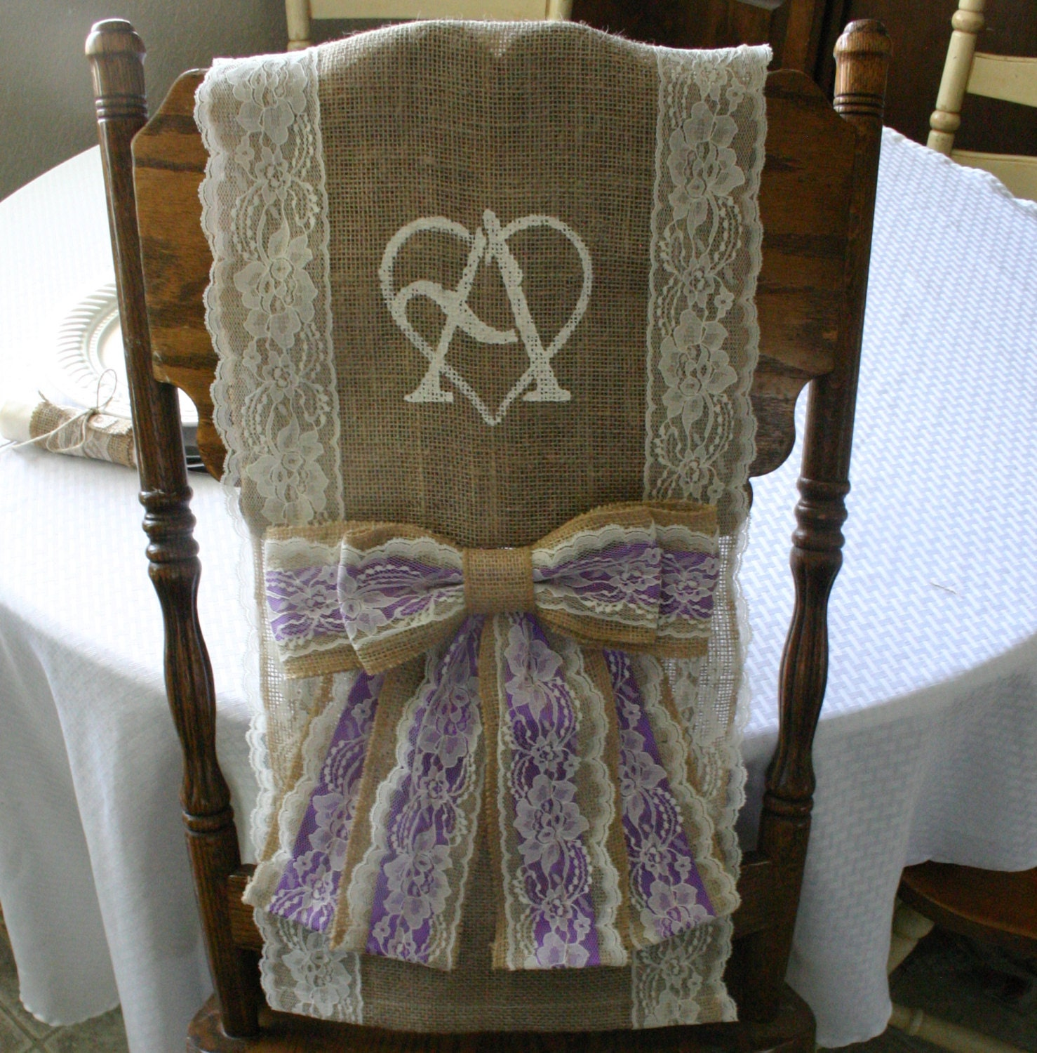 TWO Bride And Groom BURLAP CHAiR COVER Wedding Chair Sash