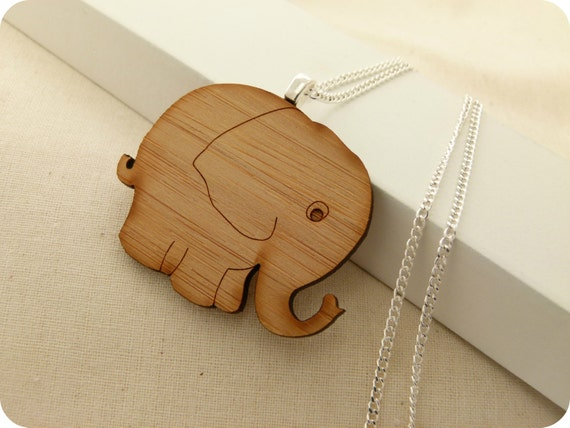 Elephant necklace - eco friendly laser cut wooden jewelry, cute elephant pendant, animal jewelry
