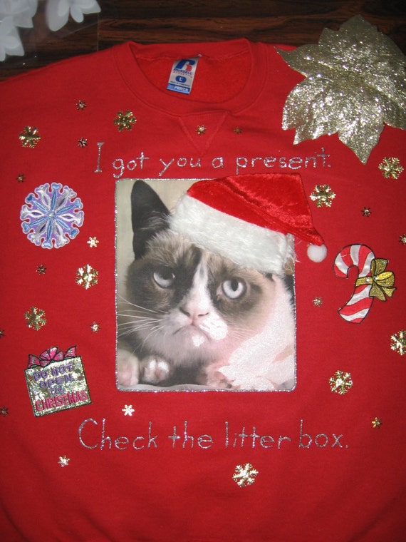grumpy cat ugly christmas sweater sweatshirt new handpainted glitter santa hat unisex large red internet meme