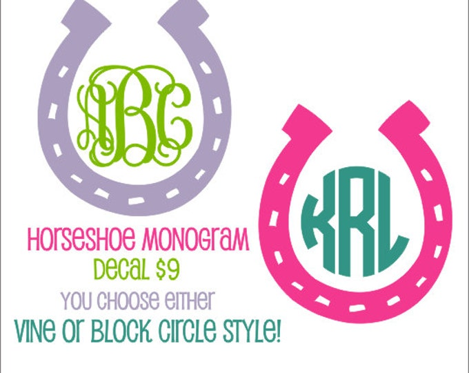 Horseshoe Vinyl Decal Horseshoe Car Decal Cowgirl Country Monogram Decal Horseshoe Monogram Car Window Custom Personalized