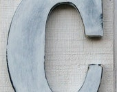 "Rustic Wooden Letter ""C"" Distressed in White,12"" tall Solid Wood Name Letters, Custom Made Any Letter and Color"