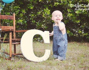 "Wooden Letter C First Birthday Props Distressed Painted Antique White,18"" tall Wood Name Letters, Custom Photo Prop"