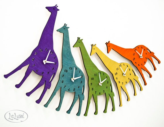 "The ""Joyful Giraffe"" designer wall mounted clock from LeLuni"