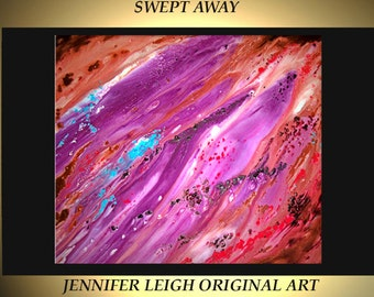 SWEPT AWAY......Original  Large Abstract Painting Modern Contemporary Canvas Art  Pink Purple Brown Blue Textured Oil 30x30 by J.LEIGH