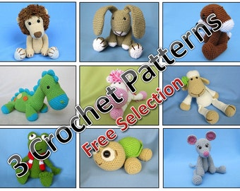 Package of 3 Crochet Patterns / PDF e-Book / Amigurumi Tutorials