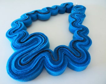 Neon Felt Necklace Felted Jewelry Statement Necklace In Blue