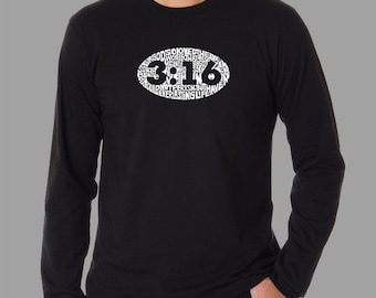 Men's Long Sleeve T-shirt - Created using the verse John 3:16