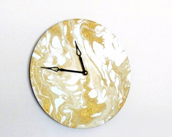 Gold & White Marbled Wall Clock, Modern Home Decor, Decor and Housewares, Home and Living