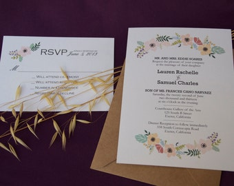 Floral Banner Wedding Invitation: Customizable. DIY-Printable. Fresh & Lovely.