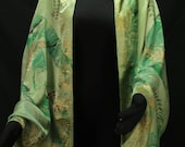 Marbled Silk Scarf / Stole Forest Green