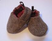 wool herringbone baby shoes- soft sole, reversible
