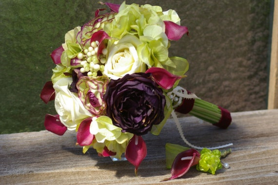 Lime ivory fuschia eggplant purple Silk Bridal Bouquet