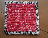 Red And Black Hand Hooked  Mug Rugs / Coaster 5.5 x 5.5 Inch's, Tea Cozy,  Hot Pad, House Warming Gift, Handmade Primitive Mug Rug